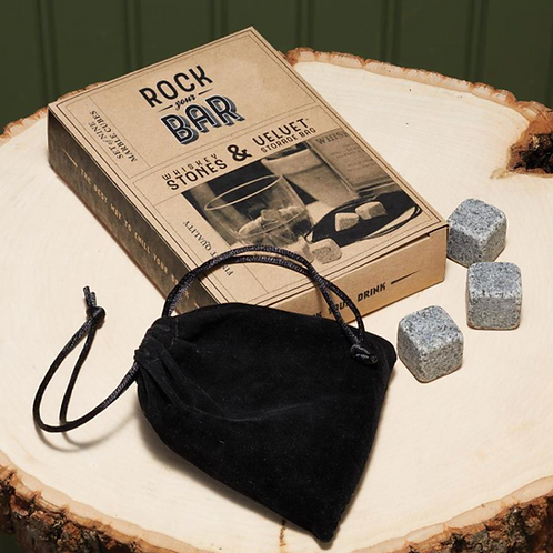 Rock Your Bar Set of 9 Whiskey Stones with Storage Pouch in Gift Box - Marble/Ve