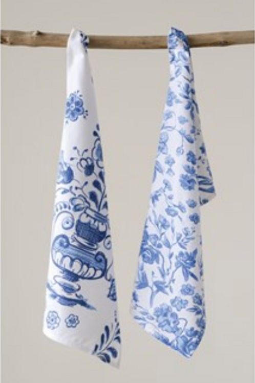 Cotton Tea Towels Blue and White