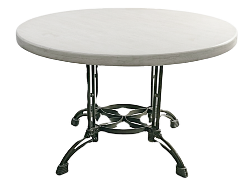 Round and Metal Table Cottage White