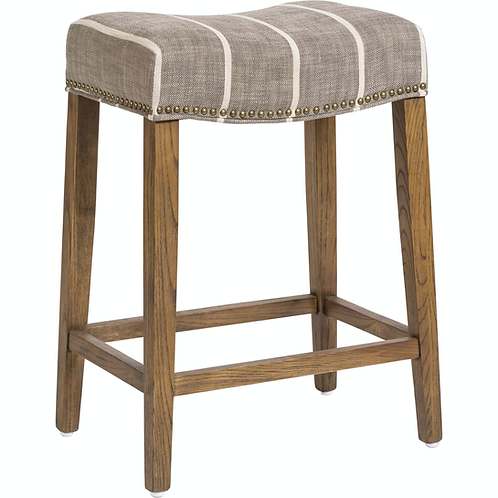 Saddle Counter Stool, Striped Graphite