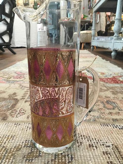 Vintage Pink/Gold Diamond Pattern Cocktail Pitcher