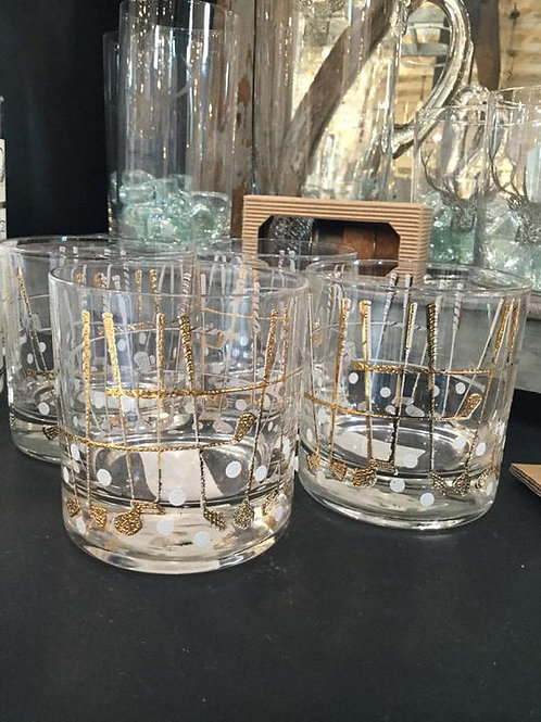George Briard Pink and Gold Roses Whisky Glasses S/4