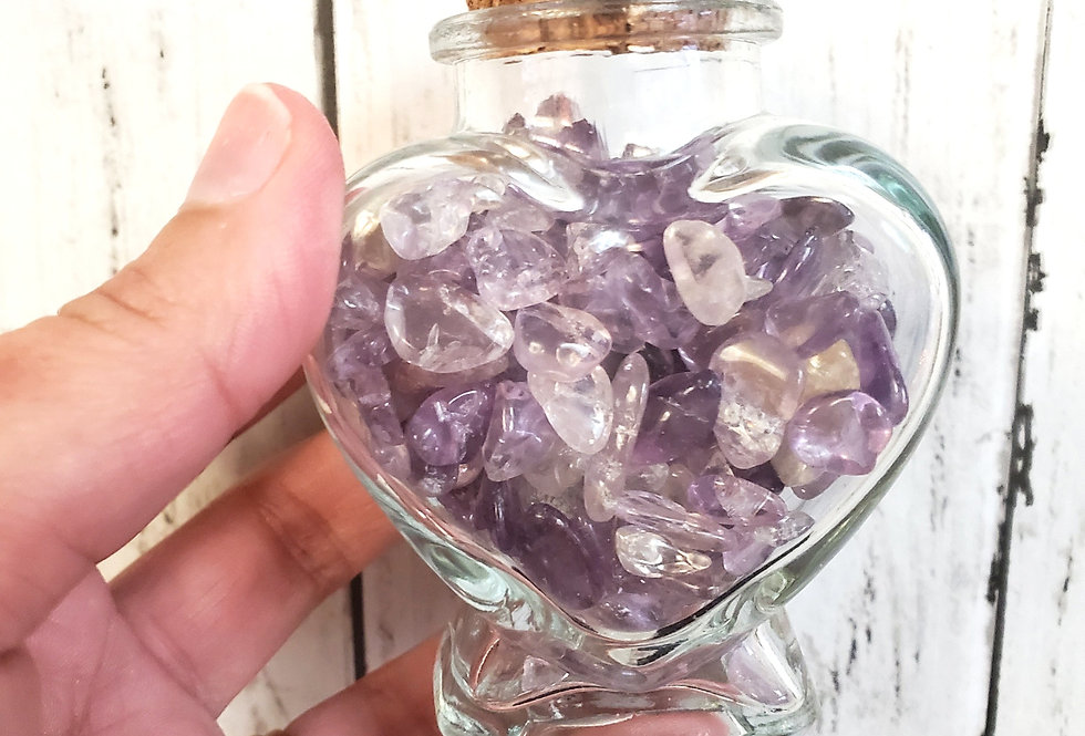 Amethyst OR Rose Quartz Filled Heart