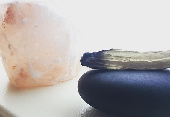 Palo Santo, stone and salt. The energy s