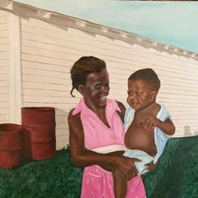 """Carolyn and 'Man' in Port Arthur c. 1957"", 24x24 in,"