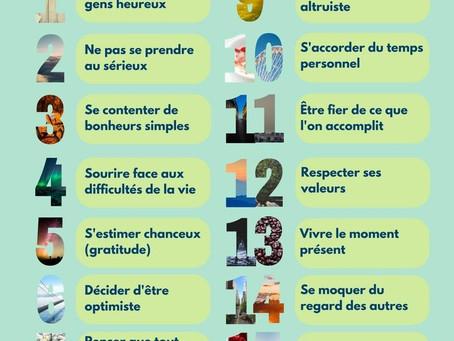 16 habitudes des gens heureux...à suivre