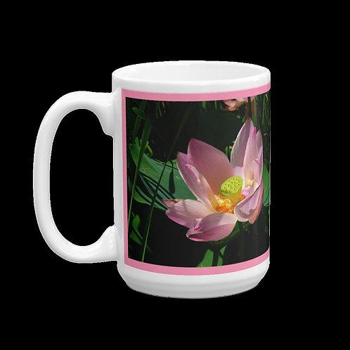 Pink Lotus Blossom Close-up, 15 oz Ceramic Mug