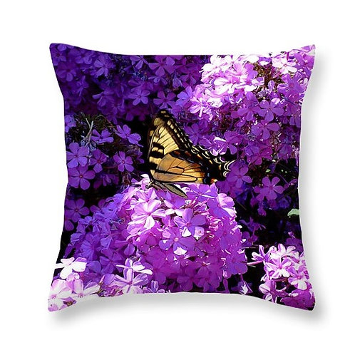 Butterfly and Phlox Squared, Square Accent Pillow