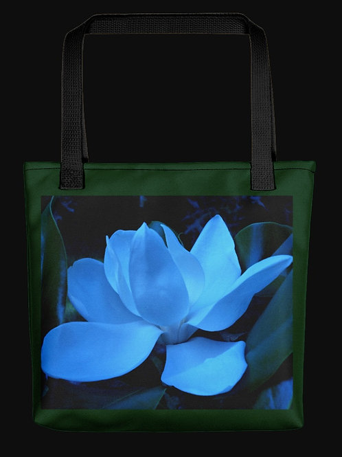 Abstract Blue Magnolia Bloom, 15x15 Polyester Tote Bag