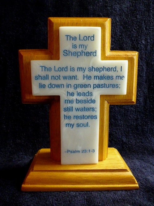 The Lord is My Shepherd, Wood and Synthetic Stone Cross