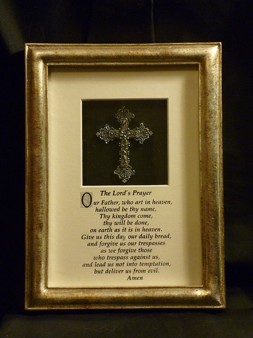 The Lord's Prayer, 3D Framed Wall Art with Cross