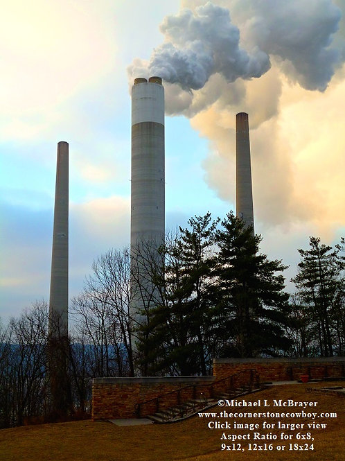 Three Industrial Smokestacks, Architectural Subject Photo