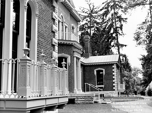 Ashland House Left Corner, Henry Clay Estate Black and White Photo