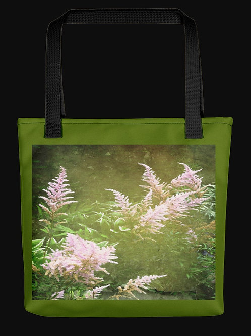 Abstract Astilbe Flowers Centered Design, 15x15 Polyester Tote Bag