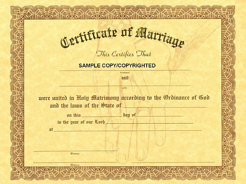 Certificate of Marriage, 8x10 Gold Stamped Certificate, Multi Packs