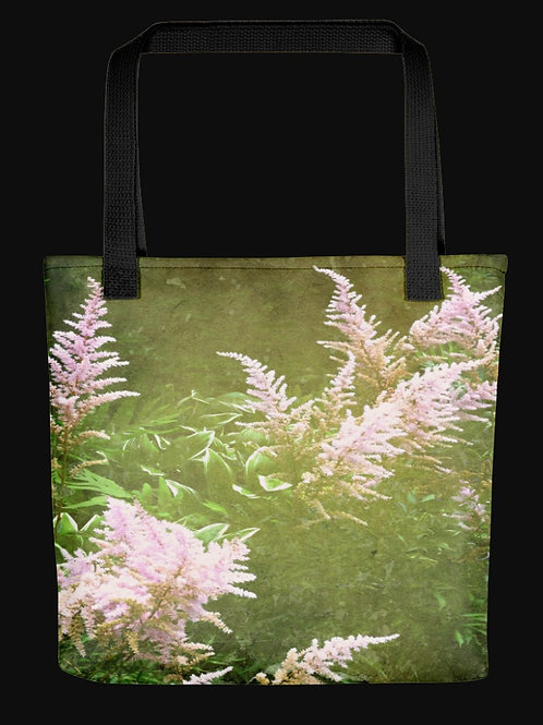 Abstract Astilbe Flowers Expanded Design, 15x15 Polyester Tote Bag