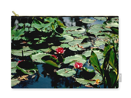 Red Water Lilies, Water Garden, Zip Carry Pouch