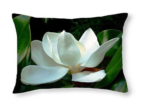 White Magnolia Bloom, 20x14 Rectangular Accent Pillow