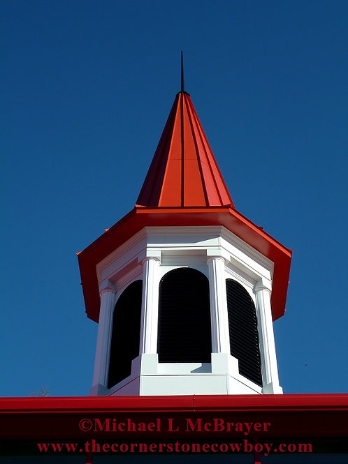 Red Spire Against Blue Sky, Architectural Photography, Unframed Wall Art