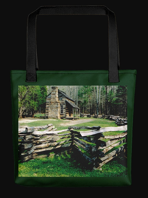 Cades Cove Log Cabin Scene, 15x15 Polyester Tote Bag