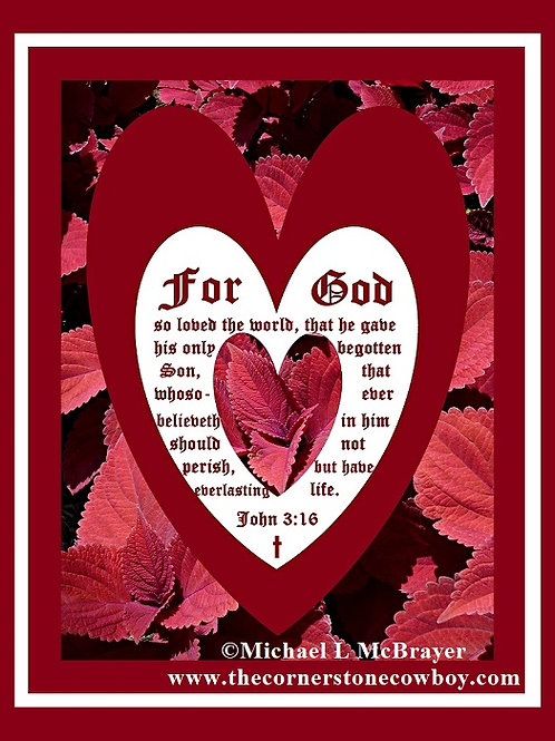Coleus Close-up Heart with John 3 vs 16,  Deluxe Trim Poster