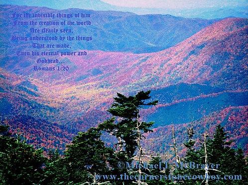 Smoky Mountains Sunset with Romans 1 vs 20, Landscape Photography