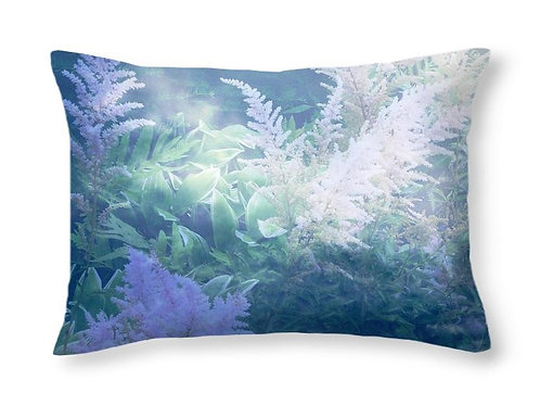 Blue Abstract Astilbe Floral, 20x14 Rectangular Accent Pillow