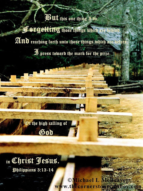 Closeup of Old Cades Cove Millrace with Philippians 3vs13to14, Scripture Photo