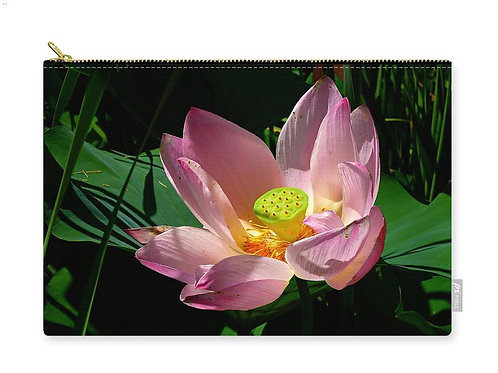 Pink Lotus Blossom Close-up, Zip Carry Pouch