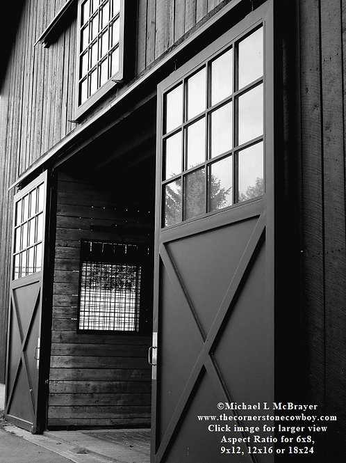 View of Barn Doors, Black and White Horse Barn Photo