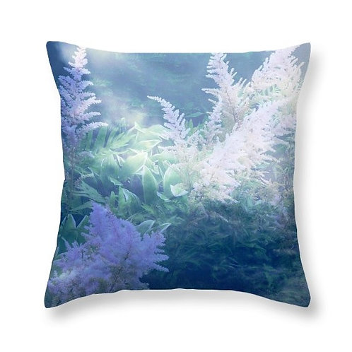 Blue Abstract Astilbe Floral, Square Accent Pillow