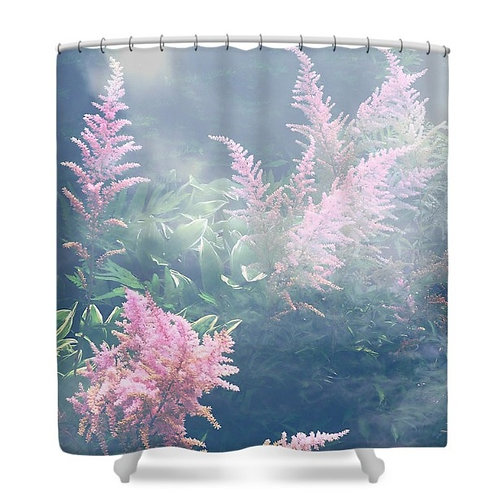 Astilbe Pink Fog Abstract Floral Shower Curtain, 71 wide x 74 tall
