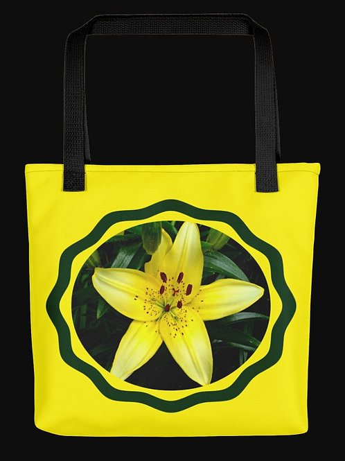 Yellow Asian Lily Circular Photo, 15x15 Polyester Tote Bag