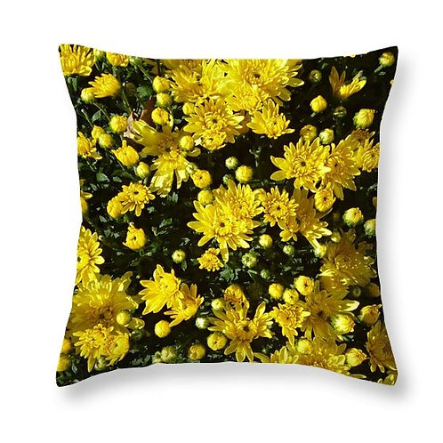 Closeup of Yellow Mums, Square Accent Pillow