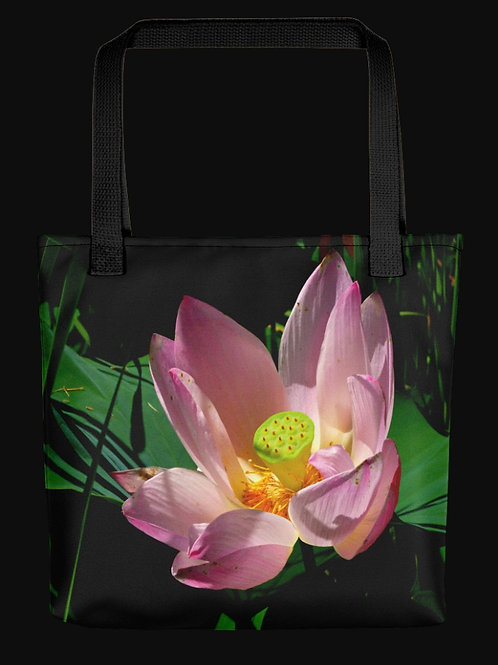 Pink Lotus Blossom Close-up, 15x15 Polyester Tote Bag