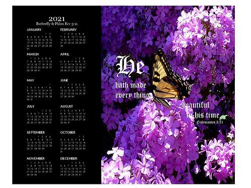 2021 Butterfly and Phlox Ecc 3 vs 11 Calendar, 8x10 One Page Calendar