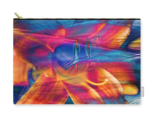 Surreal Abstract Multicolor Daylily Bloom, Zip Carry Pouch