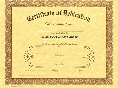 Certificate of Dedication, 8x10 Gold Stamped Certificate, 9 Pack