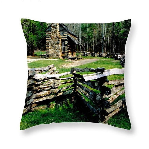 Log Cabin at Cades Cove, Square Accent Pillow