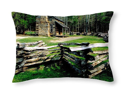 Log Cabin at Cades Cove, 20x14 Rectangular Accent Pillow