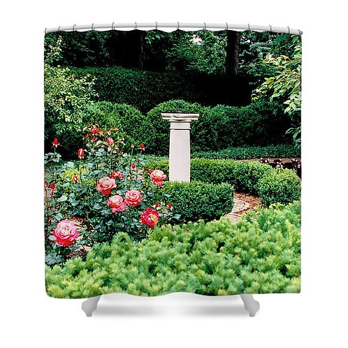 Formal Garden with Sundial Shower Curtain, 71 wide x 74 tall