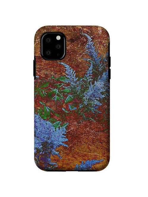 Astilbe Dusty Blue on Board Abstract, iPhone 11 Tough Case