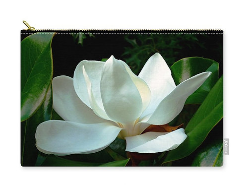Closeup of White Magnolia Bloom, Zip Carry Pouch