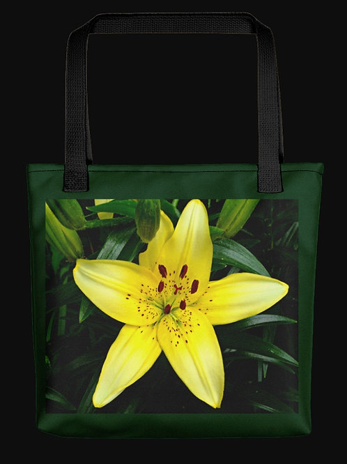 Yellow Asian Lily Square Photo, 15x15 Polyester Tote Bag