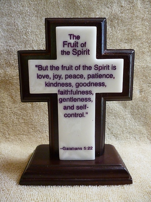 Fruit of the Spirit, Wood and Synthetic Stone Cross
