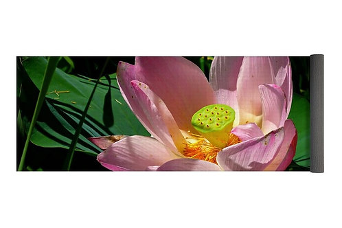 Pink Lotus Blossom Close-up, 24x72 Yoga Mat