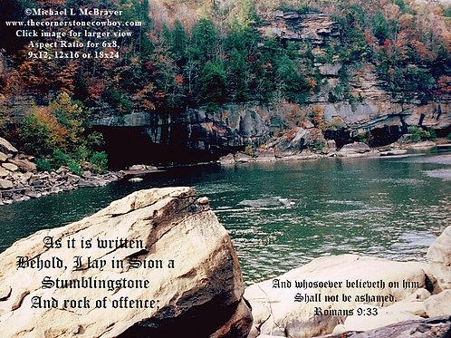 Cumberland River with Romans 9 vs 33, Scenic Kentucky Waterway