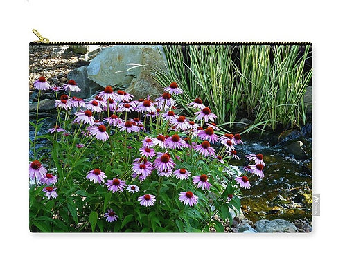 Garden Stream and Purple Coneflowers, Zip Carry Pouch