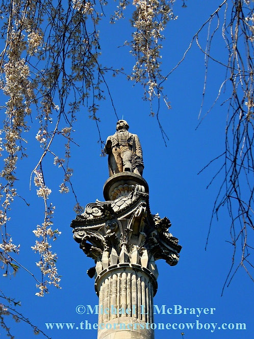 Clay Statue Surrounded by Cherry Blossoms, Cemetery Art Photo