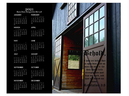 2021 Barn Door Perspective Rev 3 vs 8 Calendar, 8x10 One Page Calendar